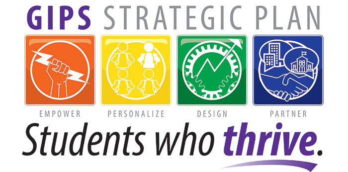 Logo for GIPS Strategic Plan, Students Who Thrive!